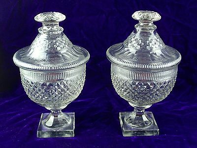 Antique 1830's Georgian Irish Crystal Sweetmeat Compotes, Pair