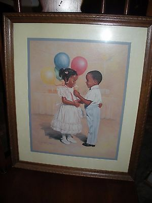 Home Interior Large picture Two Kids in Their Party Clothes 18 1/2 X 15 1/2