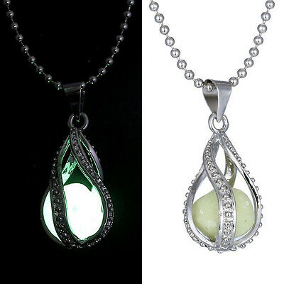 Gilrls Women Fashion The Little Mermaid's Teardrop Glow in Dark Pendant Necklace