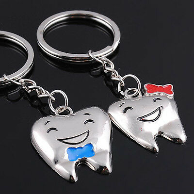 Cute Pair Love Tooth Shape Key Ring Keychain Metal Keyrings Creative Keyfob Gift