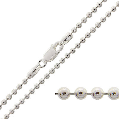 "925 Sterling Silver BEAD BALL Chain Necklace 16 18 20 22 24 26 28 30"" Inch 2mm"