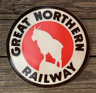 """Great Northern Railway Vintage 12"""" Metal Dome Train Sign"""