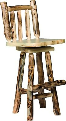 Rustic Aspen Log 24 Swivel Bar Stool With Back Set Of 2 Amish