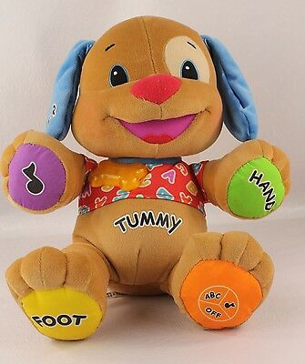Lot of 2 Fisher Price PUPPY DOG *Learn Laugh Love* PlushToy~TALKS-SINGS ABC~MUSI