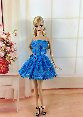 Lovely Fashion Blue Flower Dress/Clothes/Outfit/For Barbie Doll D02BU