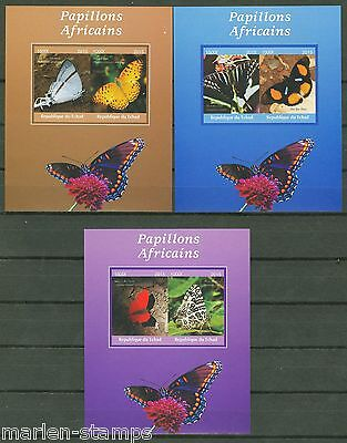 Chad 2015 Butterflies Of Africa Set Ii Of Three Deluxe Impf  Souvenir Sheets  Nh