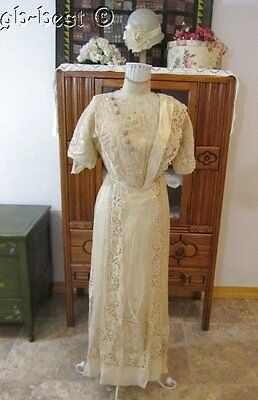 Antique 1900s Edwardian Fancy Lace Silk French Dress Beaded Work Sash