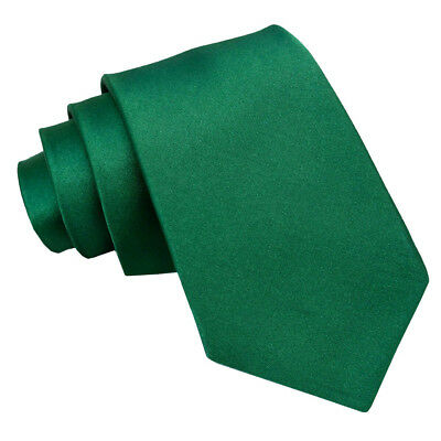 New DQT Men's Plain Emerald Green Satin Extra Long Tie