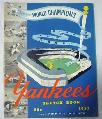 New York Yankees Authentic Official 1952 Sketch Book Program Yearbook
