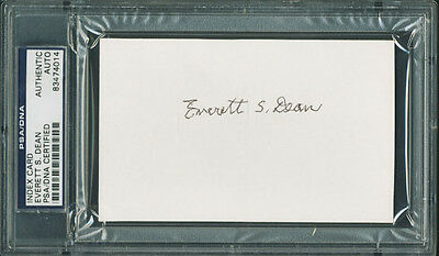 Indiana Everett S. Dean Authentic Signed 3X5 Index Card PSA/DNA Slabbed