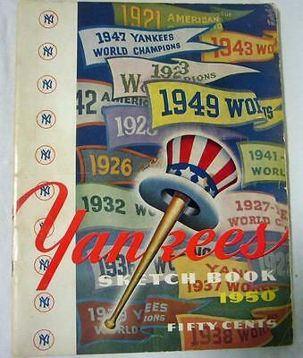 New York Yankees Authentic Official 1950 Sketch Book Program Yearbook