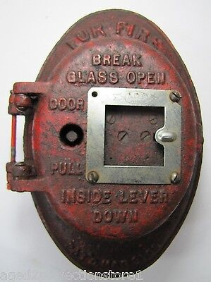 Antique Fire Alarm Box Patent 1908 Cast Iron oval embossed lettering heavy old