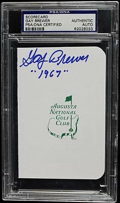 Gay Brewer '1967' Signed Authentic Masters Scorecard PSA/DNA Slabbed #82028033