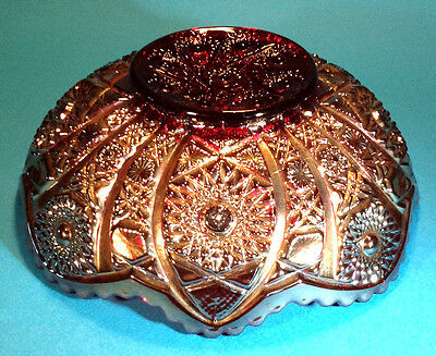 Imperial Carnival Glass Large Ruby Red Bowl With Gilded Iridescent Exterior