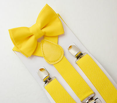 Kids Boys Baby Yellow Suspenders & Canary Cotton Bow tie Wedding SET 8mon-ADULT