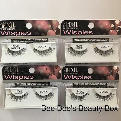 Ardell Natural Lashes Demi Wispies Black x 4 packs New Stock In Latest Packaging