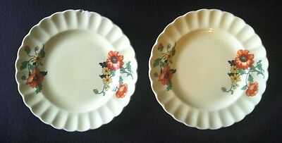 """Lot Of 2 Salad Plates by Sebring Pottery """"The Poppy"""" Golden Maize 6 1/4"""""""