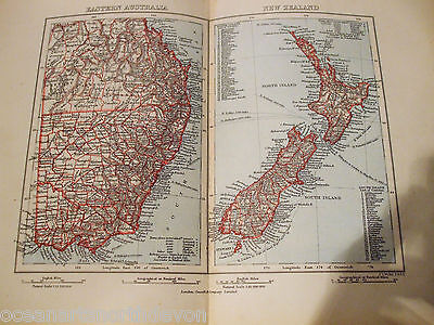 Antique Print 1890 Map Of Eastern Australia And New Zealand Map Of The World