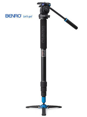 Benro A38TBS2 Video Monopod with Twist Lock Legs, S2 Head and 3 Leg Base (Black)