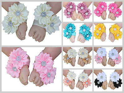 Baby Girl Barefoot Sandals Flower Shoes Daisy Foot Flower Handmade Photo prop
