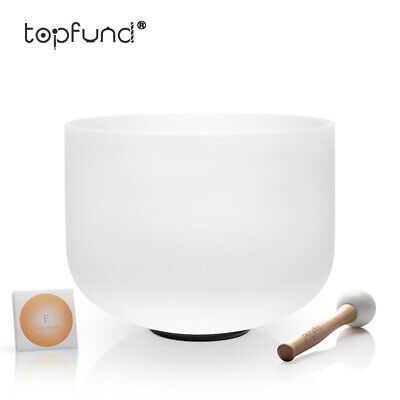 TOPFUND® New Frosted E Solar Plexus Chakra Quartz Crystal Singing Bowl 20 cm