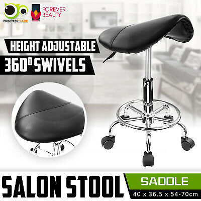 SADDLE Salon Stool PU Swivel Barber Hair Dress Chair Seat Hydraulic Lift BLACK