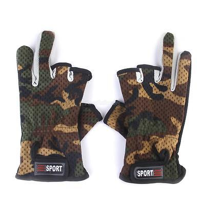 1 Pair Camo Camouflage Anti Slip 3 Cut Finger Fishing Gloves Outdoor Sport