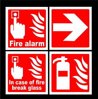 Fire Alarm Call Point Signs / Stickers - Fire Extinguisher, Break Glass, Arrow