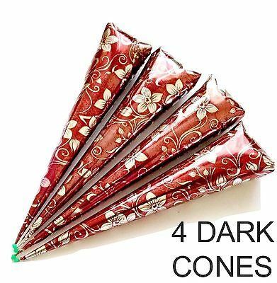 4 X Organic Henna Mehndi Temporary Tattoo Cones Wedding Party  Indian  Handmade