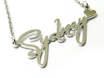 "Personalized 14"" Name Plates Silver Necklace Monogram Jewelry Script Font"