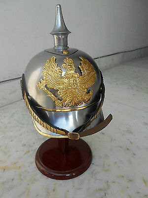 PICKLE HAUBE German Armour Spiked Purssian Officer Helmet With Leather Liner