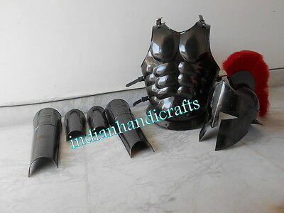 MUSCLE ARMOR & 300 HELMET & 300 SPAARTAN LEG & ARM GURD BLACK ANTIQUE REPLICA