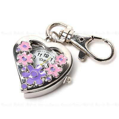 Flower Heart Quartz Pocket Watch Stainless Steel Key Ring Chain Kids Girl Gift