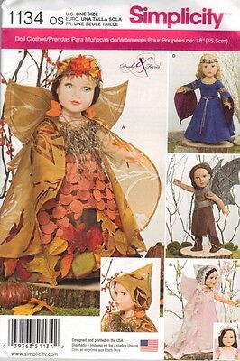 """SIMPLICITY Pattern 1134 18"""" Girl Doll Clothes Fantasy Wings Crown Fairy American"""