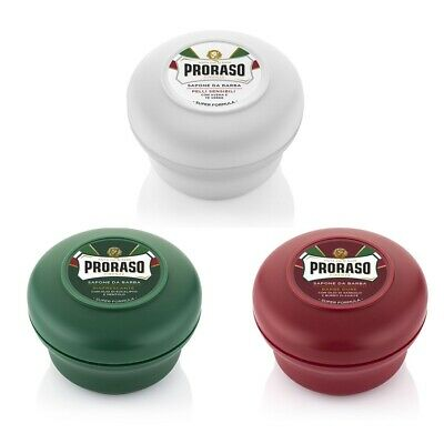 Triple Pack - Proraso shaving soap cream green/red/white 150ml bowl / jar / tub