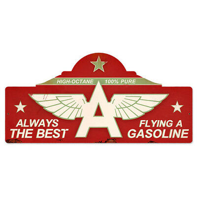 Flying A Gasoline Marquee Metal Sign Tydol Vintage Garage Decor 26 x 12