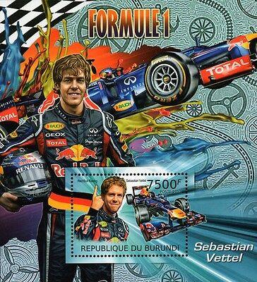 2012 SEBASTIAN VETTEL Red Bull Racing Formula 1 Grand Prix Race Car Stamp Sheet