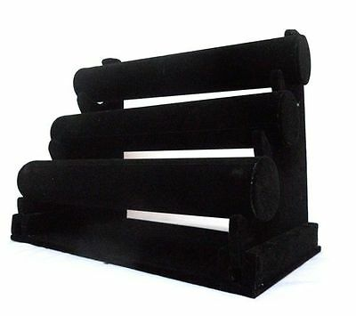 3 Tier BLACK  Velvet Bangle Watch Bracelets Jewellery DISPLAY STAND