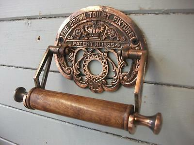 Vintage style     crown toilet fixure    Roll Holder    antique copper