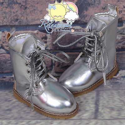 "Martin Stitch Shoes Boots Silver for MSD BJD Dollfie Kaye Wiggs 16"" Sasha Dolls"