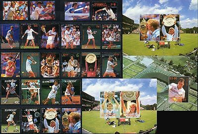 29 x TENNIS STAMPS - Collection of Wimbledon Grand Slam Players Sets & Sheets