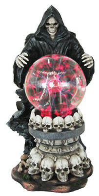 DESTROYER of WORLDS  Reaper with Electric TESLA PLASMA BALL Lamp Statue H12.5''