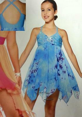 MORNING BREEZE Lyrical Tie Dye Dress Ice Skating Ballet Dance Costume Child & Ad