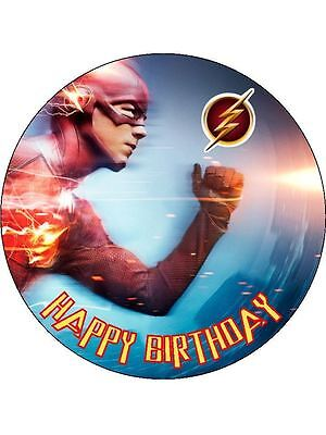 """The Flash Super Hero Personalised 7.5"""" Birthday Cake Topper on Icing"""