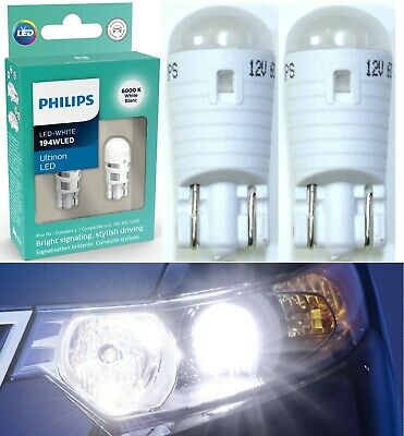Philips Vision LED 194 168 T10 White 6000K 1W Two Bulbs Replacement Light Lamp