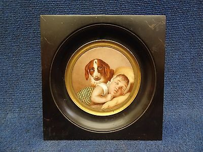 PORCELAIN PLAQUE SLEEPING BABY & PUPPY DOG FRENCH/BELGIAN PORCELAIN Early 19th