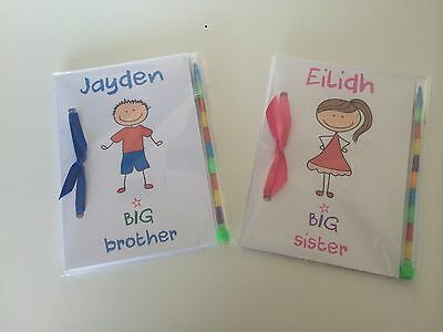 Personalised Childrens Colouring Activity Book New Baby Big Sister Big Brother