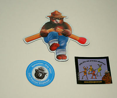 3 Vintage Smokey The Bear Only You Can Prevent Forest Fires Magnets NOS