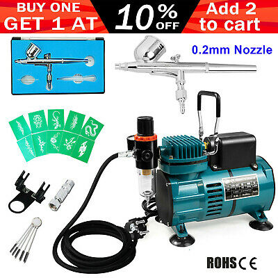 Voilamart Air Brush Compressor 0.2mm Gravity Spray Gun Tattoo Art Airbrush Set