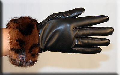 Brand New Black Leather Gloves Leopard Print Mink Fur Trim Efurs4less